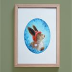 Sweet Easter Bunny Woodland Print Childrens Room Art