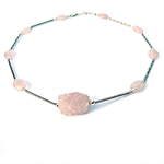 Rose Quartz and Silver Necklace
