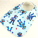 Baby Feeder Dribble Bib, Blue Robot Cotton Fabric, Bamboo Toweling Snap Fastened