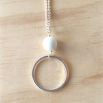 LARGE WHITE RESIN COLOUR BASICS SIMPLE SILVER CIRCLE LONG PENDANT NECKLACE