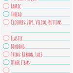 Sewing Shopping List