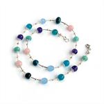 Rainbow Gemstone and Liquid Silver Necklace