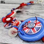 British Jack - Red White Blue - Button Necklace - Button Earrings - Set