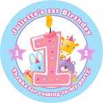 Personalised 1st first kids girl girls birthday party favour bomboniere stickers