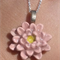 Stunning Pink Water Lilly Flower Pendant Necklace