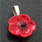 Cute Red Poppy Pendant Necklace
