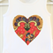 Love Heart Shape Batik Applique on a Cotton Onesie / Bodysuit or Girls Blouse