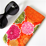Peggy-Sue Pencil/Glasses Case - Flowers on bright pumpkin orange.