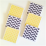 Yellow & Grey Coasters 6 Ceramic Tile Drink Coasters Geometric Chevron Chainlink