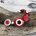 Bracelet - Red Black White - Mixed Button Bracelet