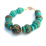 Handmade TurquoiseBracelet with Nepal Focal Bead