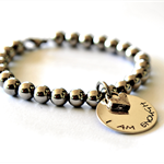 Inspiration Silver Bead Bracelet Mothers Day Bangle Hand Stamped Stainless Steel