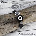 Bracelet - Black and White Stripes - Mixed Button Bracelet