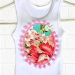 Pink pom pom singlet applique floral baby pompom singlets girls turquoise babies