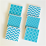 Aqua Coasters - 6 Ceramic Tile Drink Coasters Chevron Square Chainlink Moroccan
