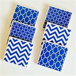Cobalt Blue Coasters - 6 Ceramic Tile Drink Coasters Chevron Chainlink Moroccan