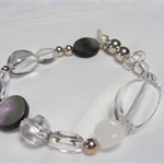 Clear Quartz Mother of Pearl and Sterling Silver Bracelet