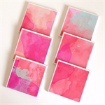 Watercolour Coasters - 6 Ceramic Tile Drink Coasters Pink, Coral, Mint