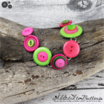 Bracelet - Pink Lime with an etched Tree - Mixed Button Bracelet