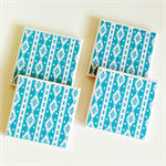 Aqua Aztec Coasters - 4 Ceramic Tile Drink Coasters Tribal Turquoise