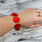 Bracelet - Scarlet Red Buttons - Shimmering Pearl - Silver Plated Base