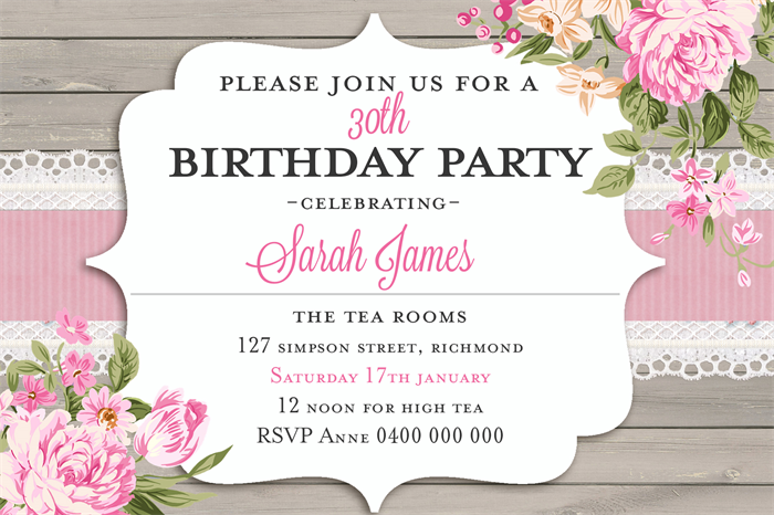 Adults birthday invitations bridal shower hens night high tea adults birthday invitations bridal shower hens night high tea d01 stopboris Images