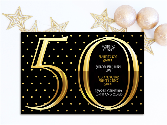 Adults 50th birthday invitations three peas designs madeit adults 50th birthday invitations filmwisefo