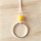 LARGE YELLOW RESIN COLOUR BASICS SIMPLE SILVER CIRCLE LONG PENDANT NECKLACE