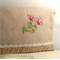 Linen and Machine Embroidered Zippered Pouch