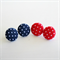 Red and Blue Spot Fabric Earrings Pair