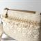 Clutch purse - wristlet - cream lace and golden braid