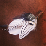 FREE SHIPPING-Smokey Woods Feather Grooms Buttonhole