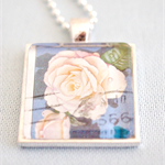 Princess of Wales Rose postage stamp pendant