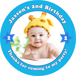 Personalised kids photo birthday party stickers favours favour sticker