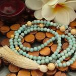 Amazonite/Riverstone Long Boho Tassel Necklace