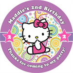 Personalised kids girls hello kitty birthday sticker stickers favours favour