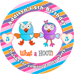 Personalised kids giggle and hoot birthday sticker stickers favours favour