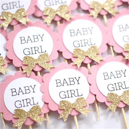 12 cupcake toppers baby girl baby shower pink white and for Baby shower cupcake picks decoration