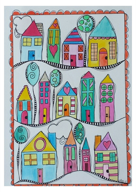 ORIGINAL A3 watercolour and Watercolour and Ink. Houses in a Row.