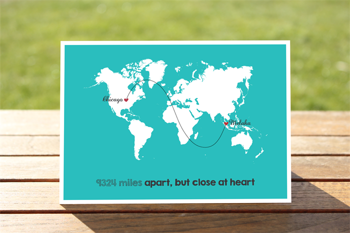 Long Distance Relationship Card Greeting Card World Map 5 X 7