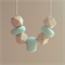 Mint natural wood geometric bead polymer clay adjustable waxed string necklace