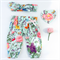 Mint Floral Harems and Topknot Set - Baby, girl, heart, bow, winter