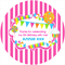 Personalised kids stripes stripe birthday party stickers favours sticker