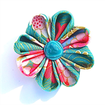 Fabric Flower Brooch Spring Green - Free Postage