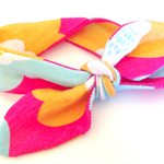 baby's TOP KNOT headband combed cotton hot pink yellow blue retro, funky flowers