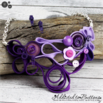Purple Zipper Quilling - Buttons and Zips - Button Necklace