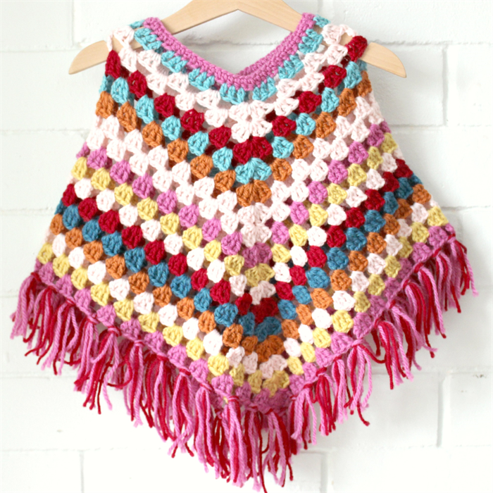Granny Stripe Poncho Crochet Toddler Girls Wool Lolli Bean