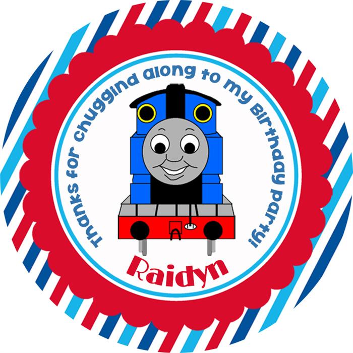 Personalised thomas tank engine birthday party stickers
