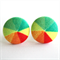 Buy 3 Get 1 Free! Citrus Pinwheel Fabric Button Stud Earrings