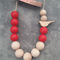 Back to Nature Bird Necklace - Red